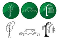 Trees. Vector icons set. Trees in different styles. Vector icons set Vector Illustration