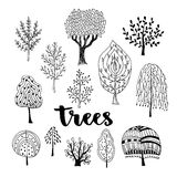 Trees vector set. Hand drawn vector collection of doodle trees.  Stock Images