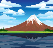 trees and volcano Royalty Free Stock Images