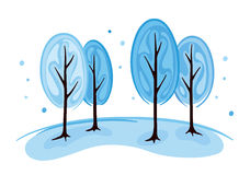 Trees in winter. Vector illustration - abstract winter trees Royalty Free Stock Photo