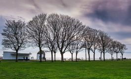 Trees in winter along the Royal Esplanade promenade in Ramsgate,. Trees in winter silhouetted along the promenade of the historic Royal Esplanade along the sea Stock Image