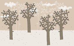 Trees in Winter hand drawn Royalty Free Stock Photography