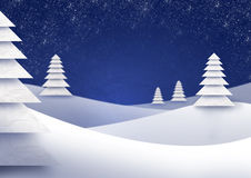 Trees in wintry landscape. Illustration of trees in wintry landscape with snowy background Royalty Free Stock Photo
