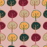 Trees woodland seamless repeat pattern design royalty free illustration