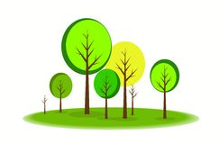 TreeScape. Vector Illustration of Spring Tree Garden Landscape Royalty Free Stock Photos