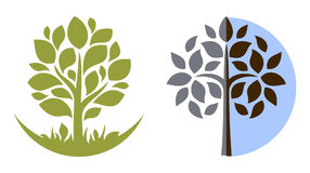 treevektor för 3 emblem Arkivfoton