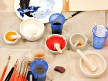 Tref voor het schilderen voorbereidingen royalty-vrije stock afbeeldingen