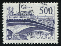 Trefaldig bro i Ljubljana Royaltyfria Foton