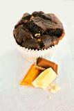 Trefaldig chokladmuffin Royaltyfri Fotografi