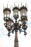 Trefaldig lampa på pelaren Fotografering för Bildbyråer