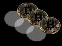 Trefaldiga bitcoins Royaltyfri Bild