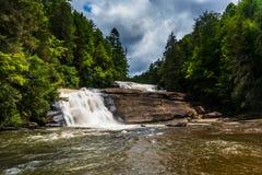 Trefaldiga nedgångar i Du Pont tillståndsskog, North Carolina Arkivfoto