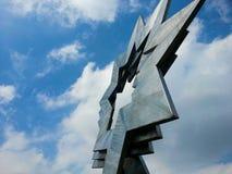 Trefaldigt Head stjärnakonstverk, Furzton, Milton Keynes Royaltyfri Bild