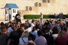 Treffen in Athen Stockbild