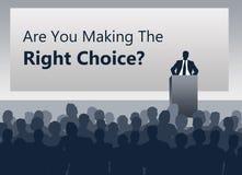 Treffen der rechten Wahl stock abbildung