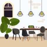 Treffen des modernen Stuhls des Esszimmers im leeren Funktionsraum mit Lampe und Anlage Lizenzfreie Stockfotografie