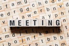 Treffen des Wortkonzeptes stockbild