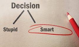 Treffen Sie die intelligente Entscheidung Stockbild