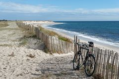 Mountain bike in finistere coast Royalty Free Stock Images