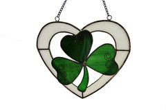 Trefoil. Stained glass trefoil on white background Royalty Free Stock Photo