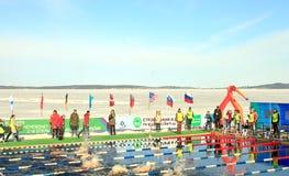 Trefpunt van het Stadium van de de Winter Zwemmende Wereldbeker in Petrozavodsk stock fotografie