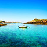 Tregastel, boat in fishing port. Pink granite coast, Brittany, F Royalty Free Stock Images