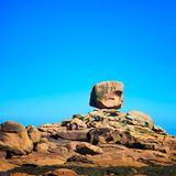 Tregastel, the dice rock in pink granite coast, Brittany, France. Stock Image