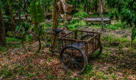 Trehjuling som är handgjord för trädgårdsmästaren Thailand Fotografering för Bildbyråer