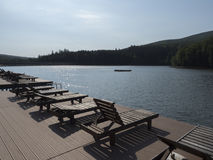 Trei Ape resort, Romania. Trei Ape is a small resort near Resita on the Trei Ape lake. The lake is the biggest accumulation lake in the Semenic mountains Royalty Free Stock Images