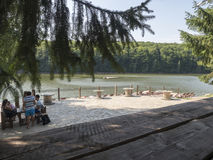 Trei Ape resort, Romania. Trei Ape is a small resort near Resita on the Trei Ape lake. The lake is the biggest accumulation lake in the Semenic mountains Royalty Free Stock Image