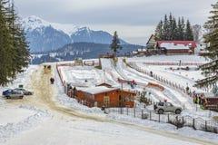 Trei Brazi瑞士山中的牧人小屋,普雷代亚尔,罗马尼亚 免版税库存照片