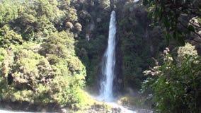 Treiben Sie Wasser des Wasserfalls im Wald und in den Bergen Neuseeland an stock video