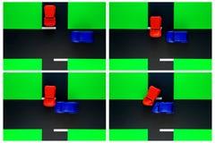 Treibered-Spielzeug-Autounfall des Endzeichen-Verkehrsunfalls Lizenzfreie Stockbilder