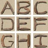 Treibholz-Alphabet A - I Stockfoto