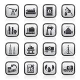 Treibstoff- und Erdölindustrieikonen Stockfotos
