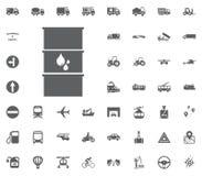 Treibstofffassikone Flüssige Ölikone Gesetzte Ikonen des Transportes und der Logistik Gesetzte Ikonen des Transportes Lizenzfreie Stockfotografie