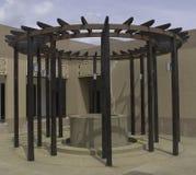 Treillis en bois circulaire photos stock