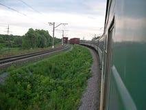 Trein aan de brug Stock Fotografie