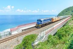 Trein bij de kustlijn Royalty-vrije Stock Foto