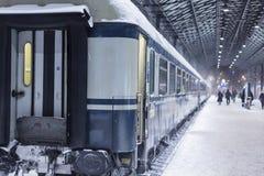 Trein bij de winter Royalty-vrije Stock Fotografie