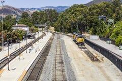 Trein bij het station van San Luis Obispo Stock Foto's