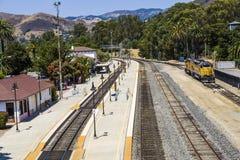 Trein bij het station van San Luis Obispo Royalty-vrije Stock Foto