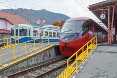 Trein bij Kawaguchiko-Station wordt tegengehouden dat Stock Fotografie