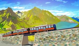 Trein in de hoge bergen van Alpen vector illustratie