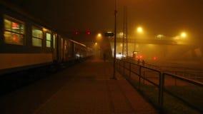 Trein in de mist stock videobeelden