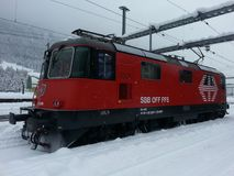Trein in de sneeuw Stock Foto