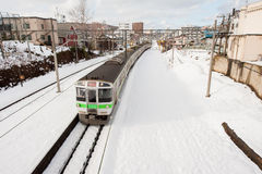 Trein in de winter Stock Foto's