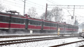 Trein in de winter stock footage