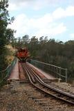 Trein die brug kruist Stock Afbeelding