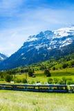 Trein die het platteland van Alpen kruisen Royalty-vrije Stock Afbeeldingen